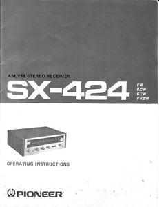 pioneer sx 424 receiver owners manual ebay rh ebay com Pioneer Receiver 302 Manual Pioneer Receiver No Power