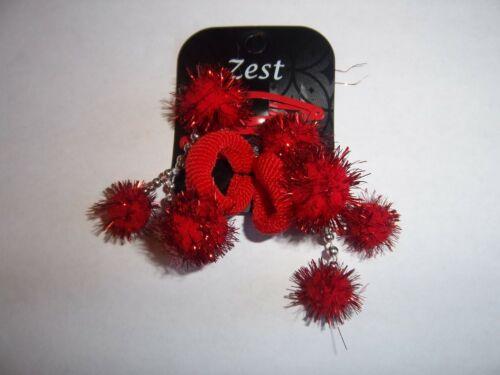 Pack De 2 Rouge oripeaux Pompon Noël clips cheveux Et 2 Rouge Pom Pom Bobbles