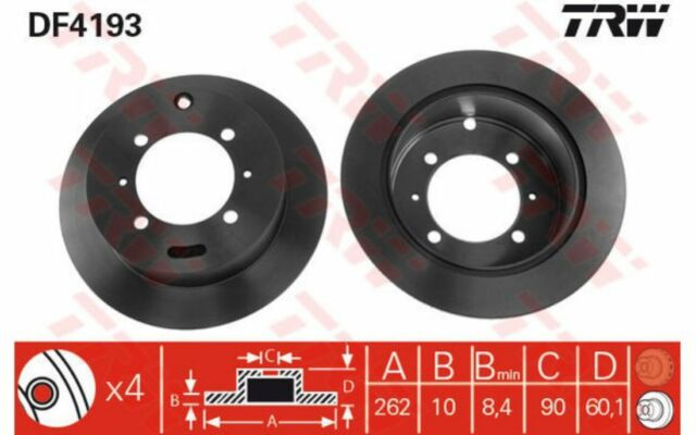 TRW Juego de 2 discos freno Trasero 262mm MITSUBISHI LANCER HYUNDAI KIA DF4193
