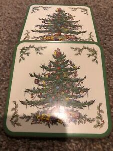 """7 Pimpernel Spode """"Christmas Tree"""" Coasters 4 1/8"""" Made in ..."""