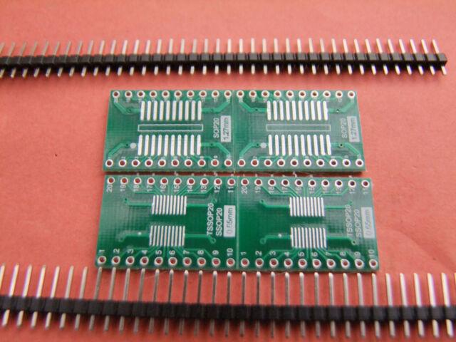 20Pcs 0.65/1.27mm to 2.54 SO/SOP/SOIC/SSOP/TSSOP/MSOP 20 to DIP Adapter convert