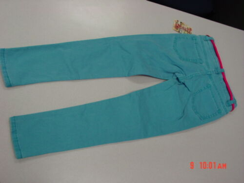 NWT Girls Squeeze Jeans Neon Turquoise Hot Pink Belt Trendy Stylish