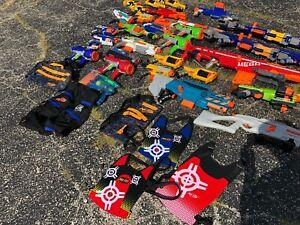 Nerf-Gun-Lot-27-guns-5-vests-1-carrying-bag-rare-guns