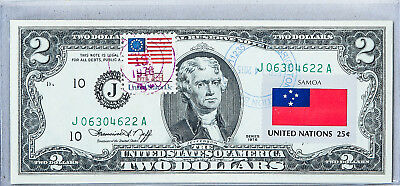 WESTERN SAMOA 2 TALA P25 1985 FLAG UNC WORLD PAPER MONEY WOOD CARVER BANK NOTE