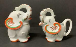 Vtg TT Takito ELEPHANT Full Size CREAM & SUGAR SET Colorful Fantastic Condition