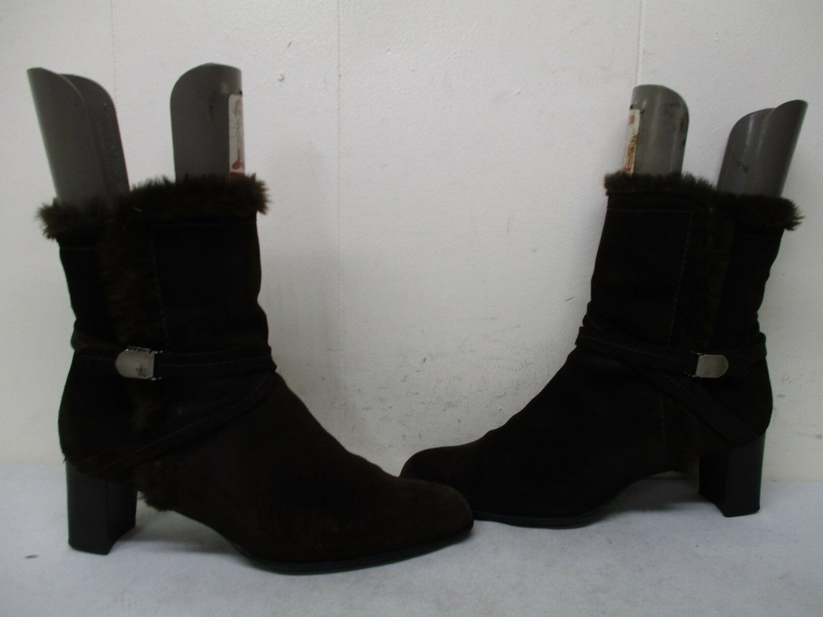 STUART WEITZMAN Brown Suede Leather Faux Fur Lined Zip Ankle Boots Size 10.5 M