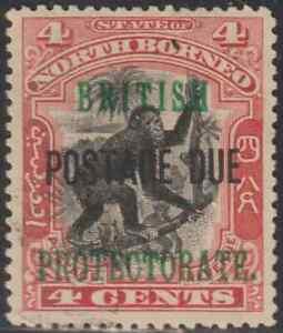 NORTH-BORNEO-1902-BP-POSTAGE-DUE-4c-ORANG-UTAN-MONKEY-FINE-CTO