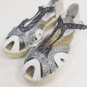best sneakers e371f add34 Dettagli su Scarpe donna Sandalo espadrillas Lagoa Pelle Glitter Tricolor  N.40