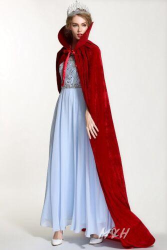"Miss 71/"" Velvet Satin Cloak Cape High Collar Medieval Pageant Costumes Dress up"