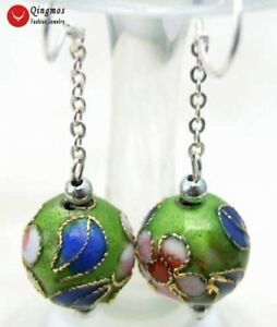 12mm-Round-Green-Cloisonne-Flower-Beads-Dangle-Hook-Earrings-for-Women-ear213