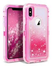 For Apple iPhone XR Liquid Glitter Defender Case Works For Otterbox Clip Pink
