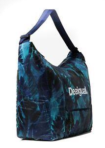 Desigual-Bio-Patching-Olivia-Gym-Bag-Sporttasche-Tasche-Azul-Polar-Blau-Tuerkis