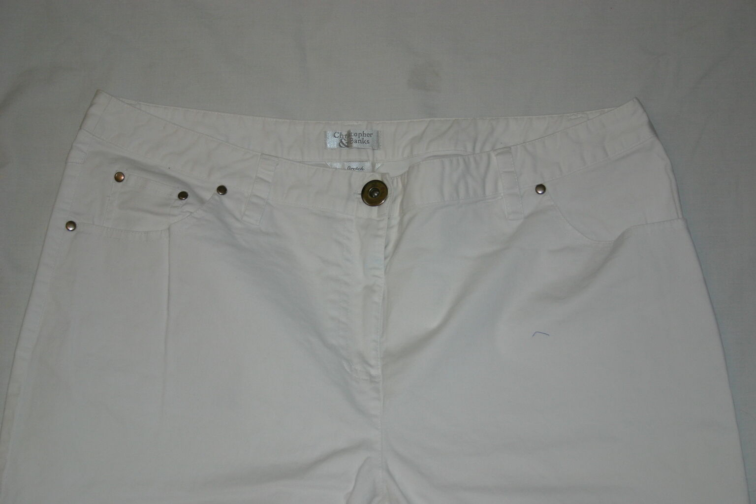 9b61eff4869 Christopher   Banks Women s Pants Size 16 White Inseam 30.5 Zipper Button  nuigkj3836-Pants