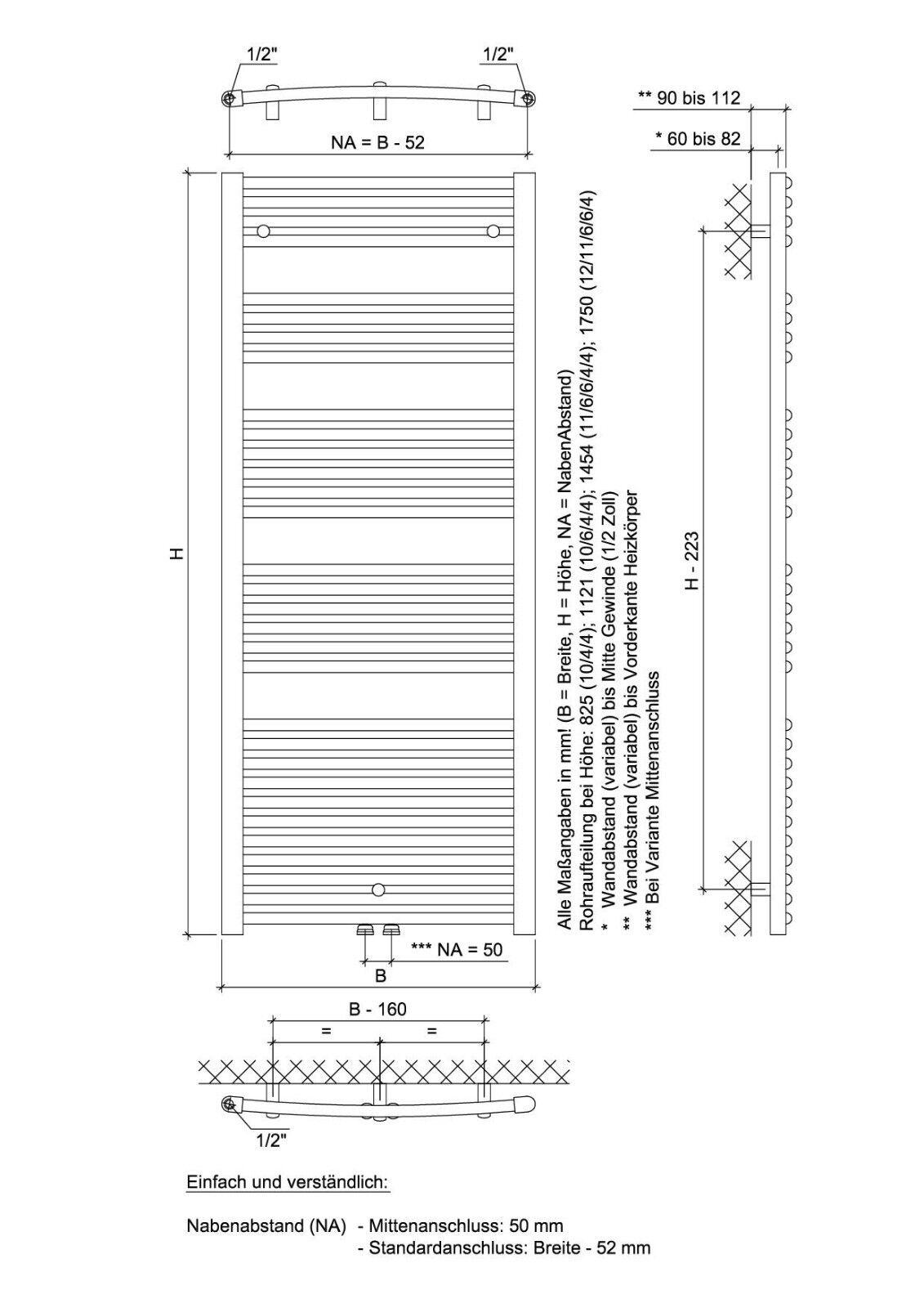 Ximax Design-Heizkörper Design-Heizkörper Design-Heizkörper Bad-Heizkörper Handtuchwärmer Alpha C 82,5, 552W 85d093