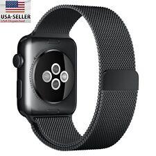 Apple Watch Band 42mm Milanese Loop Stainless Steel Bracelet Strap (Black)