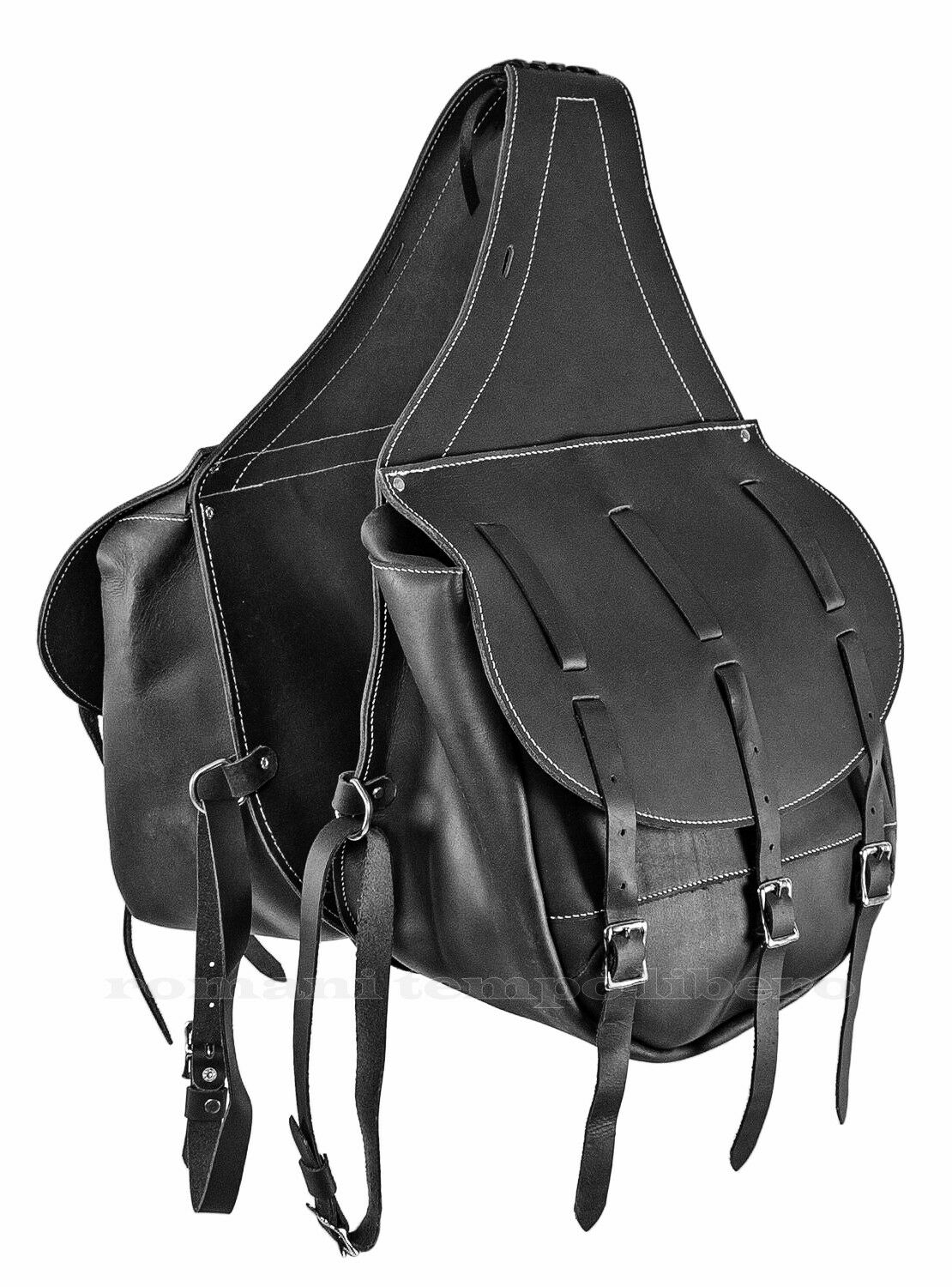 Bisacce posteriore per sella in cuoio con tre lacci saddlebags calfskin leather