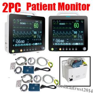 """2pcs Portable Medical 12"""" Vital Signs Patient Monitor ECG NIBP RESP SPO2 TEMP PR"""
