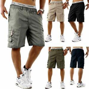 Mens-Elasticated-Cargo-Shorts-Summer-Casual-Cotton-Combat-Pants-M-L-XL-2XL-3XL
