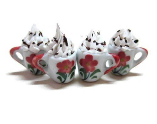 4 Mugs of Coffee Dollhouse Miniatures Food Supply Deco Hand Painted