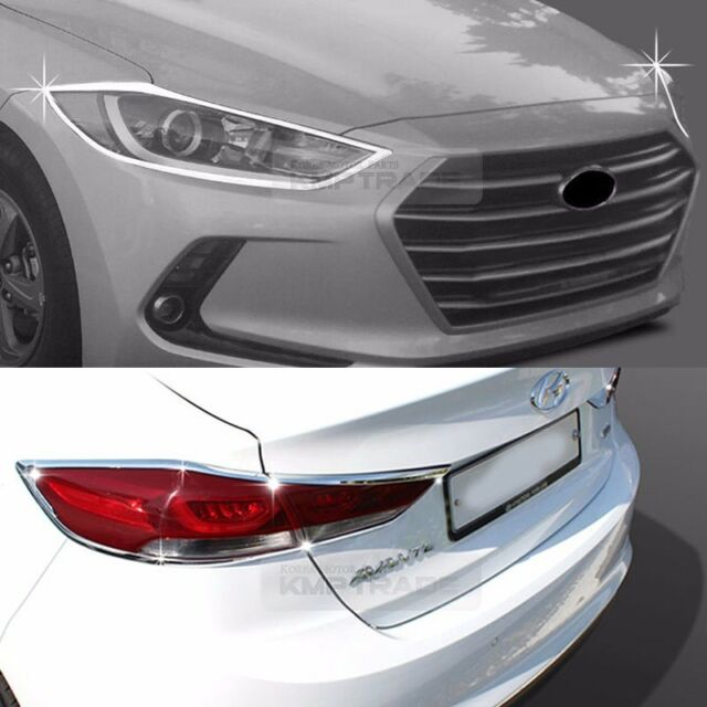Chrome Head Light Rear Lamp Cover Garnish Molding 6P For HYUNDAI 2017 Elantra AD