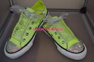 NEW Custom Crystal Bling Lo Top Yellow Converse Trainers Size UK ... d7fe881f5b4c