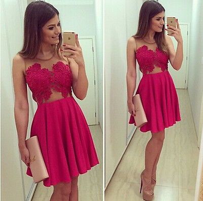 Red Women Lady Summer BodyCon Lace Trim Chiffon Evening Sexy Party MINI Dress
