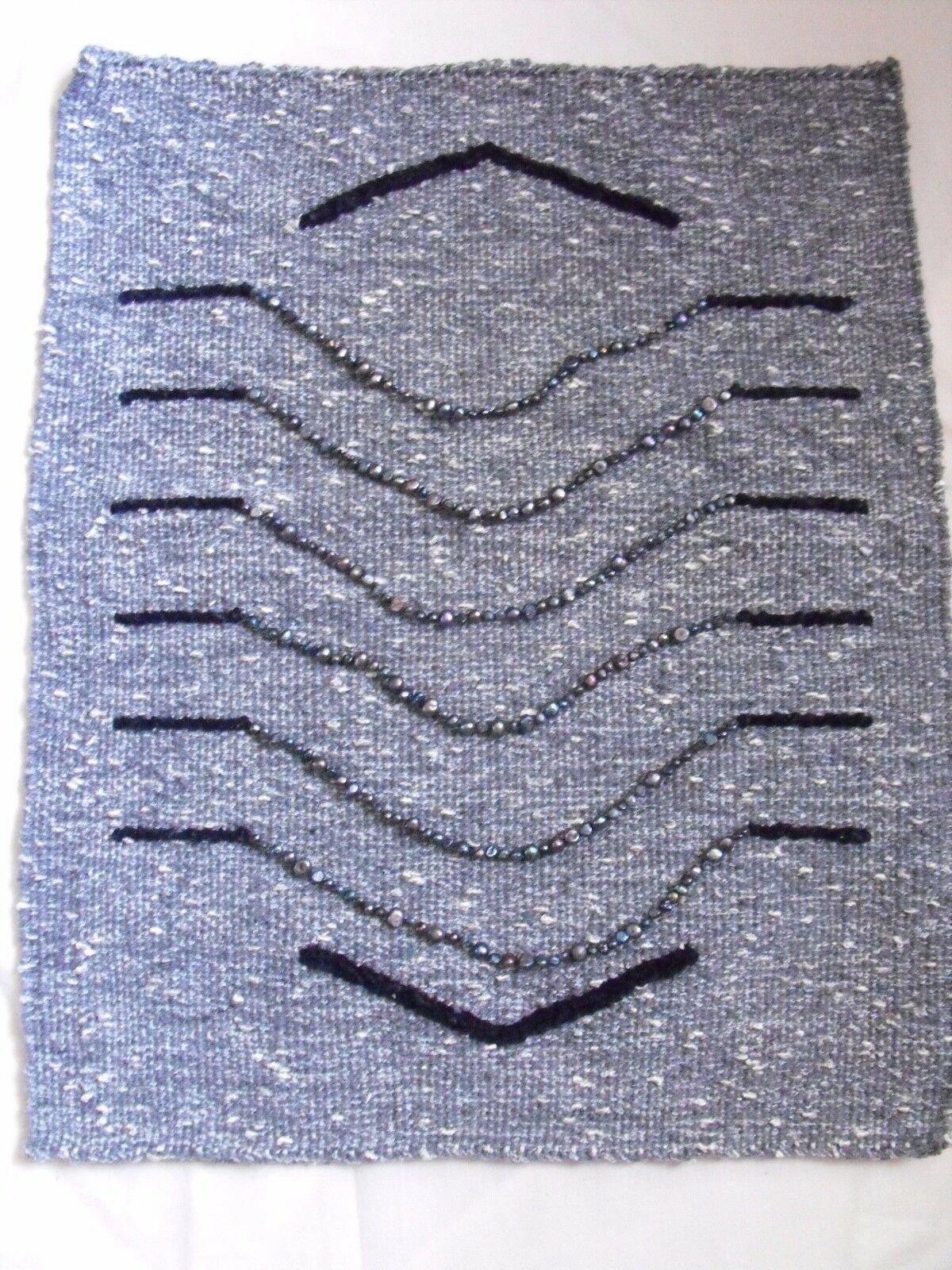 Hand made OOAK woven tapestry wall hanging ART textile grau freshwater pearl