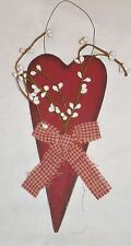 Country primitive RED Wood HEART Pip Berry Berries floral Decor Sign cloth bow