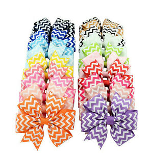 10Pcs-Baby-Kids-Girl-Wave-Bow-Hair-Clip-Boutique-Ribbon-Stripe-Hairpin-Headwear