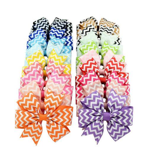 10Pcs Baby Kids Girl Wave Bow Hair Clip Boutique Stripe Ribbon Hairpin Headwear