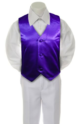 Purple Satin Vest Only  for  Boy Baby Toddler Kid Teen Formal Wedding Party S-20