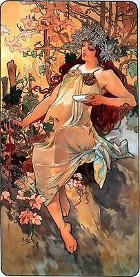 """Antiques Art Nouveau Alphonse Mucha Art Nouveau 16.5 X 11.5"""" Inch Autumn Poster & Free Dance Print"""