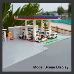 1-64-Scale-DIY-Assembly-GULF-Gas-Station-1-64-Diecast-Car-Model-Kits
