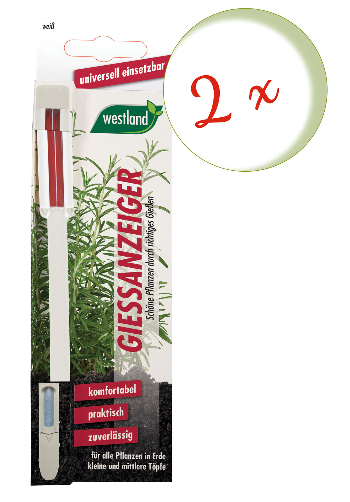 Savings Set: 2 X Westland Indicator For Flower Soil, 16 CM White