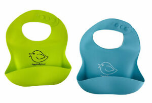 Waterproof Silicone Bibs (2) Easily Wipe Clean- Happy Healthy Parent