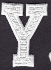 """LETTERS - WHITE BLOCK LETTER """"Y"""" (1 7/8"""") - Iron On Embroidered Applique Patch"""