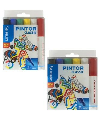 6 Piece Wallet of Classic Colours. PILOT PINTOR PAINT MARKER PEN