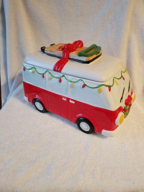 Retro Holiday Van Ceramic Cookie Jar By