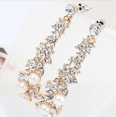 Fashion Women Lady's Pearl Crystal Rhinestone Dangle Chandelier Earrings Jewelry