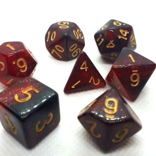 Dice 4 Friends RPG Set Poly 7 cubo DND gioco di ruolo DND RACING RED BLACK GLITTER