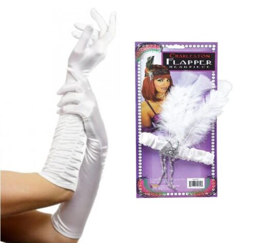 Flapper Feather Headband And Satin Ruched Top Long Gloves Set Cabaret FancyDress