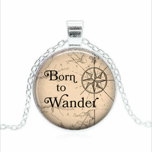 Born To FishWork PENDANT NECKLACE Chain Glass Tibet Silver Jewellery