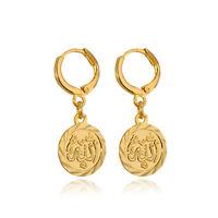 Simple Islamic Allah Coin Drop Dangle Earrings 18k Gold/platinum Plated Jewelry
