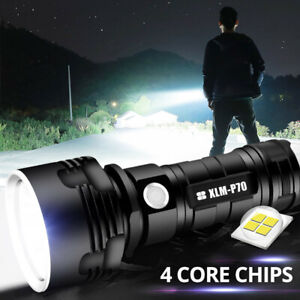 Outdoor LED USB Rechargeable Flashlight Tactical Zoom Camping Lamp Torch Small