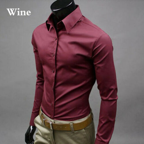 Men/'s Dress Shirts Casual Double Collar Slim Fit Button Down Long Sleeve Shirt *
