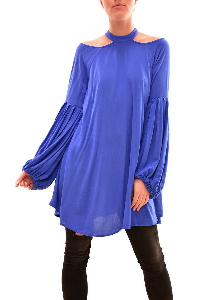Free People Women's Drift Away Cold Shoulder Blouse bluee Size XS RRP  BCF81