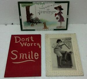 Trio-funny-cliche-Antique-postcard-100-yrs-old-Postmarked-w-note-Addressed-Clean