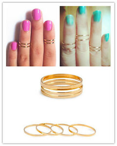 New-5PCS-Set-Rings-Urban-Gold-stack-Plain-Cute-Above-Knuckle-Ring-Band-Midi-Ring