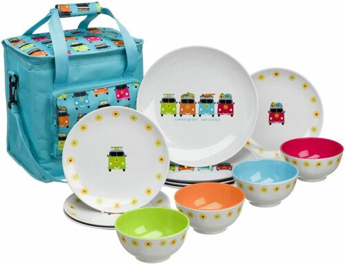 Camper Van VW 12 Piece Melamine Dining Picnic Set with 16L Cool Bag