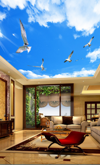 3D Bird Blau Sky Clouds 8933 Wall Paper Wall Print Decal Wall Deco AJ WALLPAPER